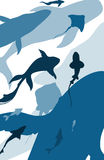 Background with silhouettes of fish 3. Background with silhouettes of different fish swimming,  illustration, blue tone stock illustration