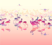 Background with silhouettes of flamingo 2. Background with sea views and silhouettes of flamingo pink and orange tones, illustration royalty free illustration