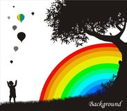 Background with silhouettes and rainbow. Background with coloured rainbow and silhouettes of tree, child and balloons Royalty Free Stock Photos