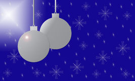 Background with Silver Christmas Ball Decorations Royalty Free Stock Photo