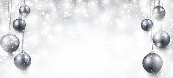 Background with silver christmas balls Royalty Free Stock Image