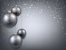 Background with silver christmas balls. Royalty Free Stock Photography