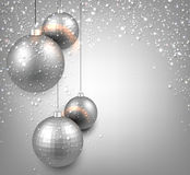 Background with silver christmas balls. Stock Images