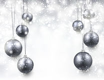 Background with silver christmas balls Royalty Free Stock Photo