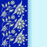 Background with a silver flowers Royalty Free Stock Images