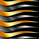 Background with silver and golden  waves Royalty Free Stock Images
