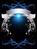 Background with silver ornament. Background with glowing star and silver ornament Royalty Free Stock Photography