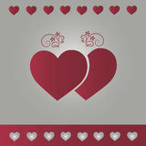 Background silver with red hearts Stock Photos
