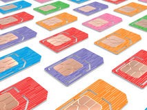 Background of Sim Cards Illustration, Dual Sized Stock Image