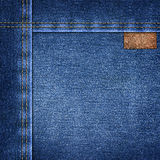 Background simple denim with leather label close-up Royalty Free Stock Photography