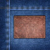 Background simple denim with leather label close-up Stock Images