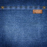 Background simple denim with leather label close-up Stock Photography