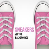 Background of simple pink classic sneakers. Background of Pair of simple pink classic sneakers. Example gumshoes. Realistic Editable Vector Illustration vector illustration