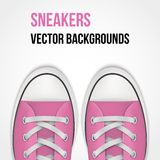 Background of simple pink sneakers. Realistic. Background of Pair of simple pink sneakers. Example gumshoes. Realistic Editable Vector Illustration vector illustration