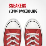 Background of simple red sneakers. Realistic Royalty Free Stock Photo
