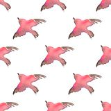 Background with simple watercolor birds 1. Seamless pattern. Seamless pattern with hand-drawn bird Stock Photography