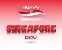 Background for Singapore, National holiday, celebration. Holiday background with 3d texts, crescent moon facing a pentagon of five stars and national flag colors stock illustration