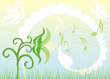 Background Singing flowers, vector. Background Singing flowers, abstract, vector illustration Royalty Free Stock Photos