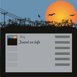 Background for a site, the blog. Silhouette of trees, columns and bats against the coming sun. Vector Stock Photo