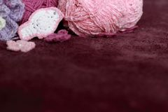 Background with skein and crochet bird. Background with skein and crochet white bird Royalty Free Stock Images