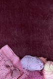 Background with skein and crochet skirt. Background with skein and crocheted pink skirt Stock Photo