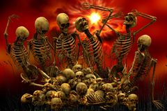 Background skeletons and bones and skulls. Aurora 3D + png Royalty Free Stock Photography