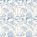 Background with sketch different food. Seamless background with sketch different food. Fish, milk, bread Stock Images