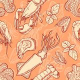 Background with sketch seafood Royalty Free Stock Photos