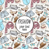 Background with sketch women's clothing Royalty Free Stock Photo