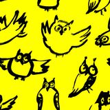 Background with sketchy owls. Seamless pattern with doodle owls. Vector ink illustration with birds in black and yelow colors and children`s style Stock Photos