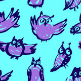 Background with sketchy owls. Seamless pattern with doodle owls. Vector ink illustration with birds in blue colors and children`s style Stock Photography