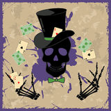 Background with skull and playing cards Royalty Free Stock Image