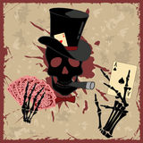 Background with skull and playing cards Stock Photography