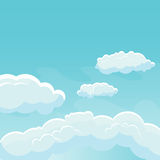 Background sky with clouds. Blue sky with white clouds. Vector background Stock Photos