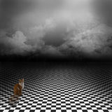 Background with sky, clouds and cat on black and white floor. Ginger cat sitting in empty, dark, psychedelic image with black and white checker floor on the vector illustration