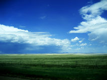 Background of Sky and Grass v1. This beautiful background of sky and grass was captured over the plains of New Mexico. The perspective line of the fence adds a Royalty Free Stock Photos