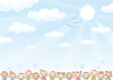Background with sky and lots of kids Stock Image