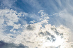Background sky sunlight dramatic clouds. Background of sky, the sunlight streaming through dramatic clouds Royalty Free Stock Image