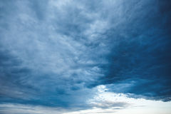 Background with Sky and Unusual Stormy Clouds Stock Photo
