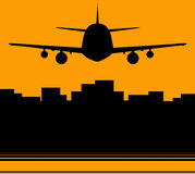 Background with skyscraper and plane Stock Photos