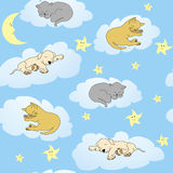Background with sleepy animals and blue sky Stock Images