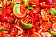 Background from sliced peppers Stock Photography