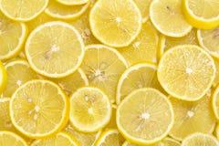 Background of sliced ripe lemons Royalty Free Stock Images