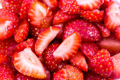 Background of sliced strawberries Stock Photo