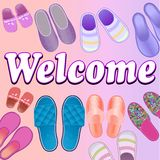 Background with slippers cozy and soft and text welcome Stock Image