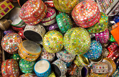 Background with small decorative boxes arabic style Stock Photos