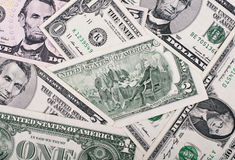 Background of small dollar bills Royalty Free Stock Photo