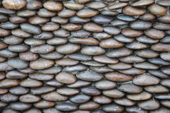 Background of small gravel stone texture.Sea stones wall abstract background. Royalty Free Stock Photo
