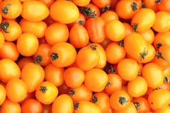 Tomatoes. The background of small orange tomatoes Stock Photo