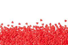 Background of small red hearts on white. Copy space text. royalty free stock photography